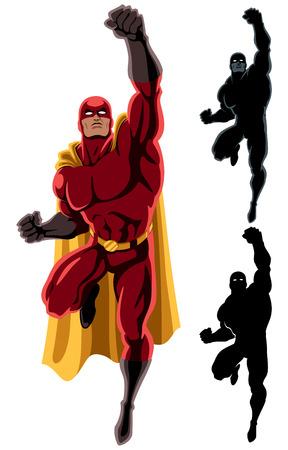 silueta hombre: Flying superh�roe m�s de fondo blanco. 2 versiones silueta adicionales.