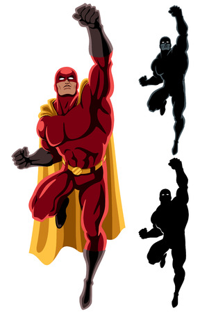 action hero: Flying superhero over white background. 2 additional silhouette versions.