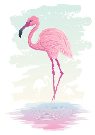 Abstract illustration of flamingo. No transparency used. Basic (linear) gradients used. Vector