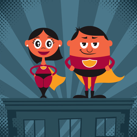 Cartoon male and female superheroes. No transparency and gradients used. Vector