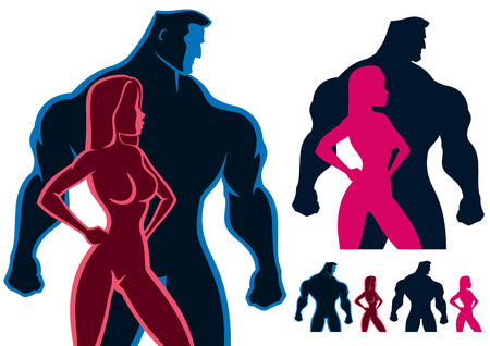 sexy muscular man: Fit couple silhouettes in 4 versions. No transparency and gradients used.