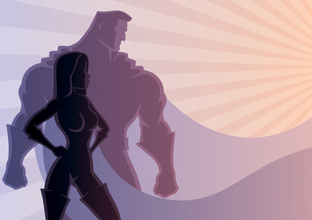 Super: Illustration of superhero couple. No transparency used. Basic (linear) gradients used. A4 proportions. Illustration