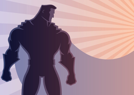 Superhero over sunrays background with copy space. No transparency used. Basic (linear) gradients. A4 proportions.