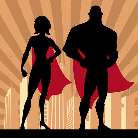 Square banner of male and female superheroes. No transparency and gradients used. Vector