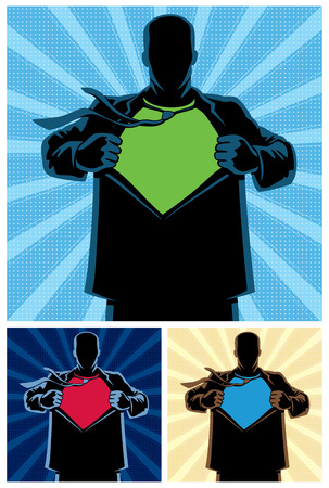 tearing: Silhouette of superhero under cover with copy space for your logo on his chest. 3 different color versions. No transparency and gradients used.