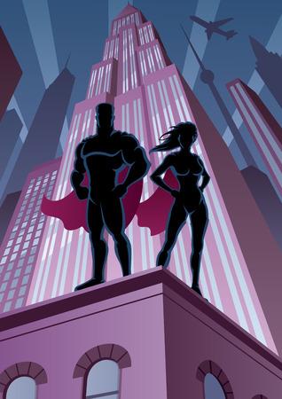 superwoman: Pareja Superh�roe, vigilando la ciudad. Sin transparencia utilizada. Gradientes B�sicas (lineal). Proporciones A4. Vectores