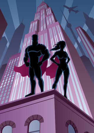 Superhero couple watching over the city.  No transparency used. Basic (linear) gradients. A4 proportions. Illustration
