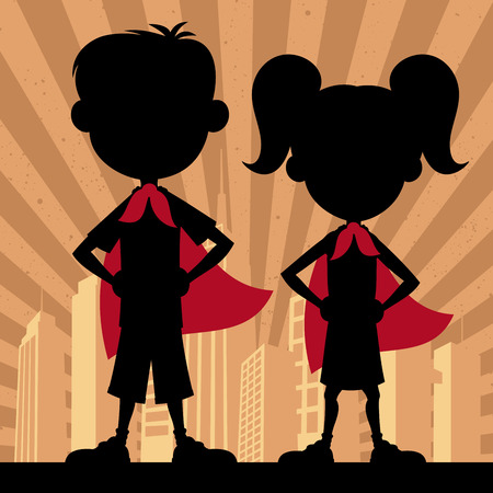 little boy and girl: Square banner of super kids. No transparency and gradients used.