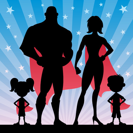 superhero woman: Square banner of superhero family. No transparency used. Basic (linear) gradients. Illustration