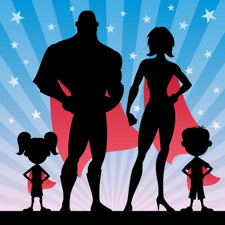 超级英雄家族的方形旗帜。没有透明度。基本(线性)梯度。插图