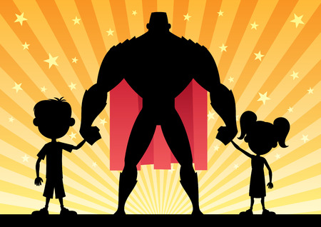 Super dad with his kids. No transparency used. Basic (linear) gradients. Illustration