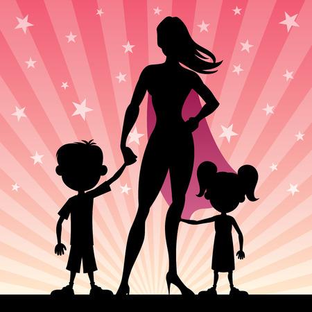 m�re et enfants: Super-maman avec ses enfants. Aucune transparence utilis�. (Lin�aires) des gradients de base.