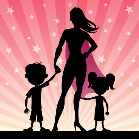 super hero: Super mom with her kids. No transparency used. Basic (linear) gradients.