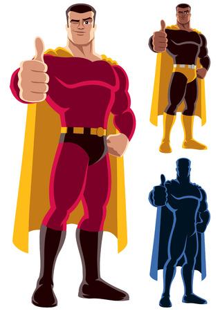 Superhero donnant pouces en l'air. Sur la droite sont deux versions supplémentaires, dont la silhouette. Pas de transparence et de gradients utilisés. Banque d'images - 34605441