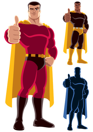 thumbs: Superhero giving thumbs up. On the right are 2 additional versions, including silhouette. No transparency and gradients used.