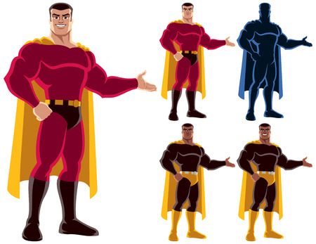 Superhero presenting your text or product with smile. On the right are 4 additional versions, including silhouette. No transparency and gradients used. Vectores