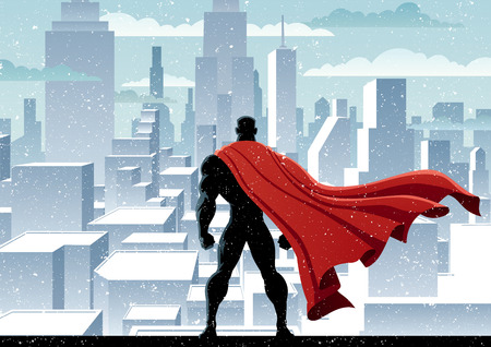 Superhero watching over city. No transparency used. Basic (linear) gradients. A4 proportions. Vector