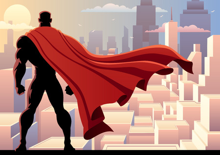 scene: Superhero watching over city. Illustration