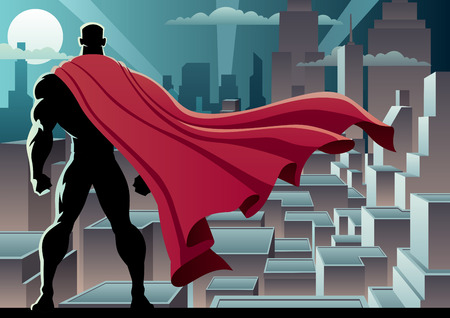 comic background: Super hero watching over city