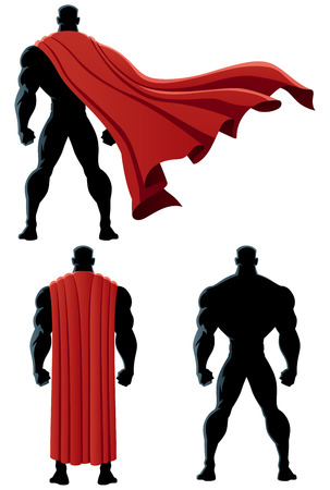 Back of superhero over white background and in 3 versions. No transparency used. Basic (linear) gradients.