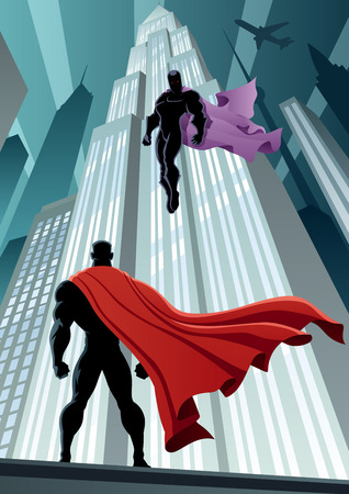 Superhero fronte supervillain. Senza trasparenza utilizzato. Gradienti (lineari) di base. Proporzioni A4. Archivio Fotografico - 34979878