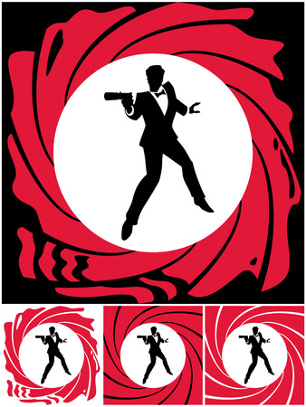 Silhouette of secret agent. No transparency and gradients used. Vector