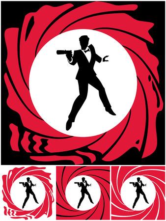 pistola: Silueta de agente secreto. Sin transparencia y degradados utilizados.