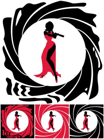 Silhouette di agente segreto femminile. L'illustrazione è in 4 versioni. Senza trasparenza e sfumature utilizzate. Archivio Fotografico - 35125768