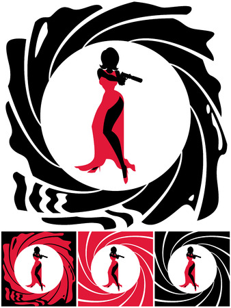 woman with gun: Silhouette of female secret agent. Illustration is in 4 versions. No transparency and gradients used.