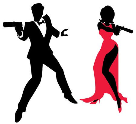 woman with gun: Silhouettes of spy couple over white background. No transparency and gradients used. Illustration