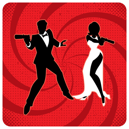 Silhouettes of spy couple over abstract background. No transparency and gradients used. Vector