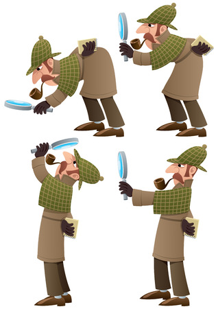 private investigator: Set of 4 illustrations of cartoon detective. No transparency used. Basic (linear) gradients.