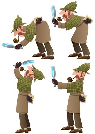 Zestaw 4 ilustracje cartoon detektywa. Nie przejrzystości używane. Podstawowe (liniowy) gradienty. Ilustracje wektorowe