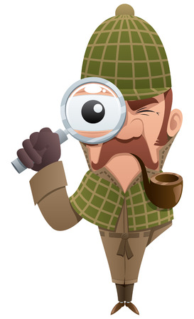 Cartoon illustration of detective, looking at you through magnifier.  No transparency used. Basic (linear) gradients. Illustration