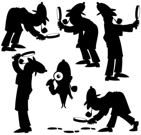 investigación: Conjunto de 6 siluetas de detective de dibujos animados. Sin transparencia y degradados utilizados.