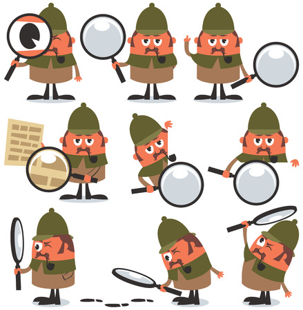 Set of 9 illustrations of cartoon detective. No transparency and gradients used. Vectores