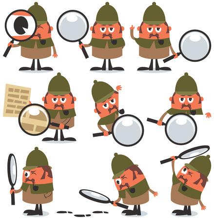computer problems: Conjunto de 9 ilustraciones de detective de dibujos animados. Sin transparencia y degradados utilizados. Vectores