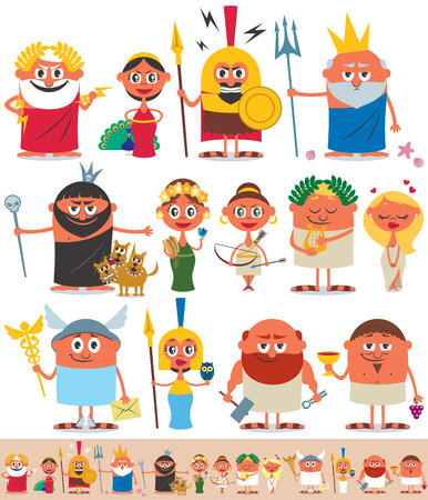 Set of cartoon Greek  Roman gods over white background. No transparency and gradients used. Vector