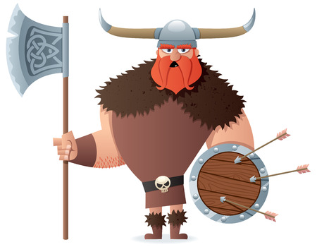 Cartoon Viking over white background. No transparency used. Basic (linear) gradients used. Vector