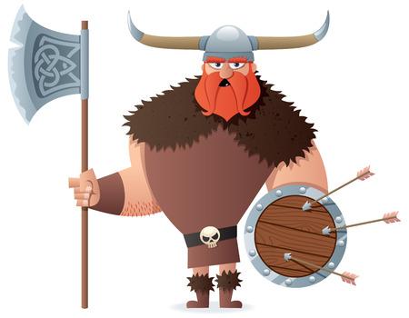 calavera caricatura: Vikingo dibujos animados sobre fondo blanco. Sin transparencia utilizada. Gradientes (lineares) b�sicos usados.
