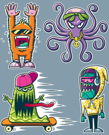 Set van 4 graffiti monster sticker ontwerpen. Geen transparantie en gradiënten gebruikt.