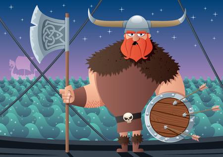 Cartoon Viking on board of Viking ship. No transparency used. Basic (linear) gradients. Illustration
