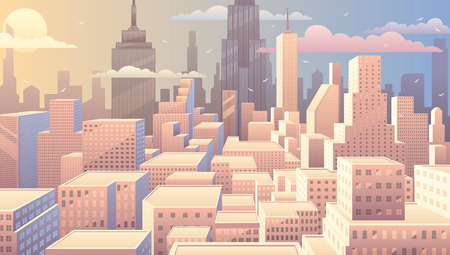 comic book: Cityscape at sunrise. Basic (linear) gradients used. No transparency.
