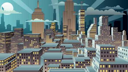 nubes caricatura: Paisaje urbano en la noche. Gradientes (lineares) b�sicos usados. No hay transparencia. Vectores
