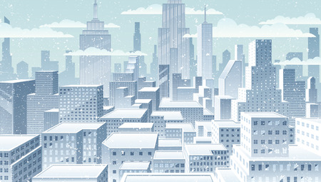 cityscape: Winter in the city. Basic (linear) gradients used. No transparency. Illustration