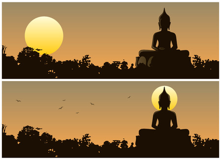Buddha statue in the jungle at sunset. 2 different versions. No transparency used. Basic (linear) gradients used.