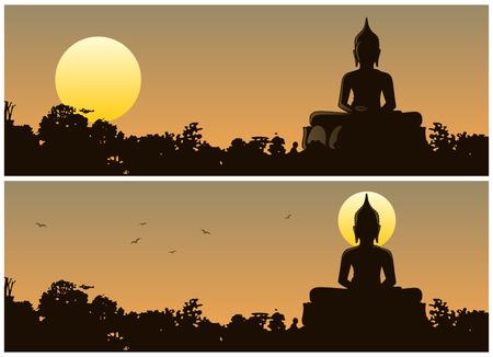 bouddha: Statue de Bouddha dans la jungle au coucher du soleil. Deux versions diff�rentes. Aucune transparence utilis�. (Lin�aires) des gradients de base utilis�s. Illustration