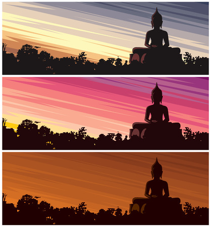 Buddha statue in jungle at dusk. 3 color versions. No transparency and gradients used. Vectores