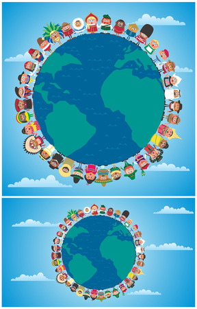 Cartoon people in national costumes from around the world holding hands as symbol of unity. Illustration is in 2 versions.