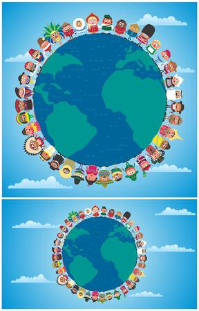 mundo manos: Gente de la historieta en trajes nacionales de todo el mundo con las manos como símbolo de la unidad. La ilustración es en 2 versiones.